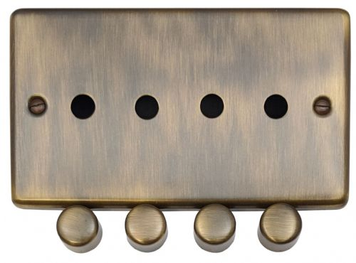 G&H CAB14-PK Standard Plate Antique Bronze 4 Gang Dimmer Plate Only inc Dimmer Knobs